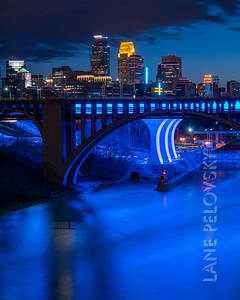 U of M Pedestrian Bridge at Dusk