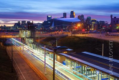 Minneapolis lights and transit