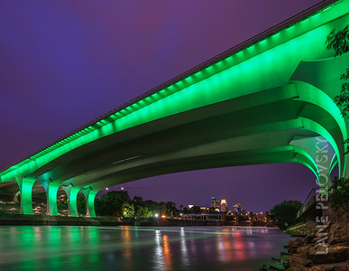 Downtown Minneapolis landmarks turned green last night for Star Tribune's 150th Anniversary celebration.