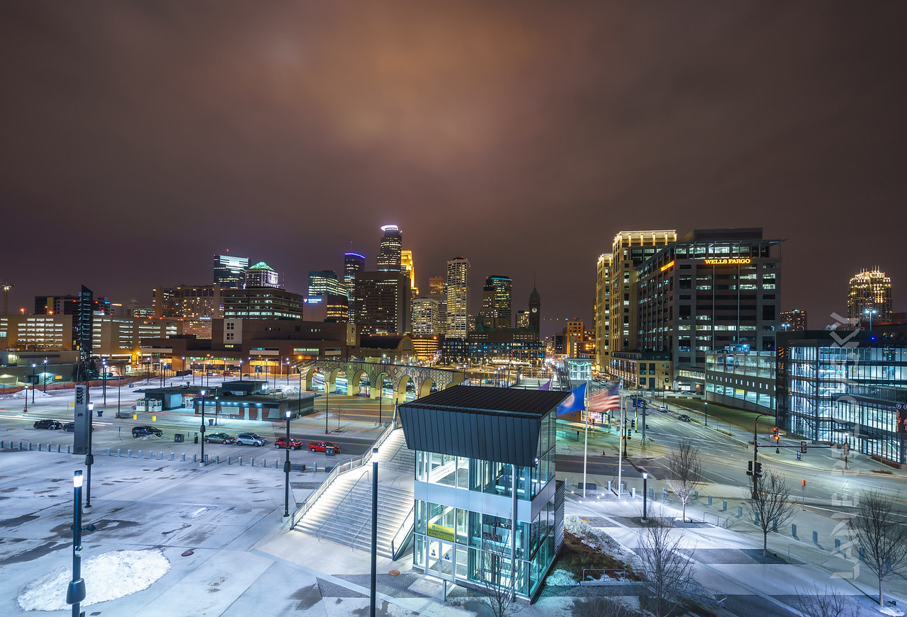 Celebrating the MN Superbowl in 2018 by lighting the city purple.  Downtown Minneapolis, MN, USA. 2017.