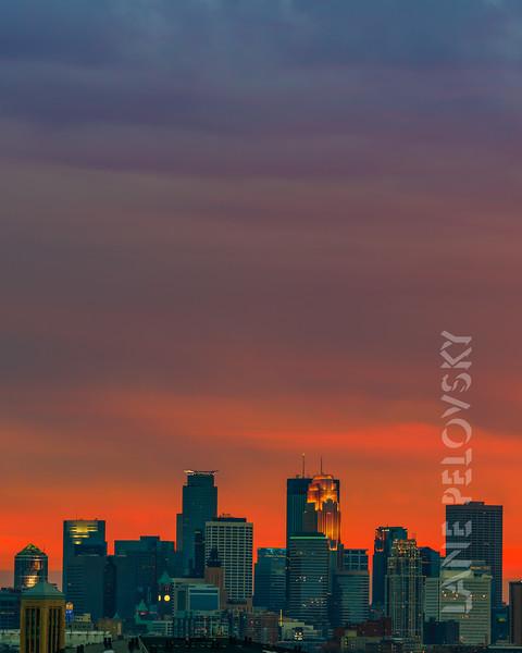Colorful Minneapolis Skyline