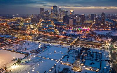 Sculpture Garden Aerial View - Christmas in Minneapolis