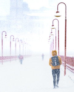 Pedestrian on the Stone Arch