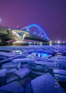Mississippi Ice at Lowry Ave Bridge - Portrait