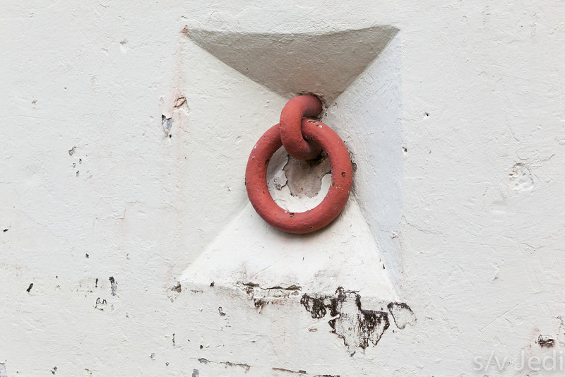 Steel ring in wall to move or secure artillery piece.