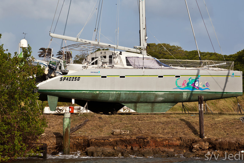 Catamaran on the hard.