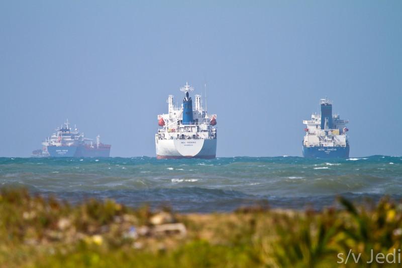 Ships anchored off Playa diablo.