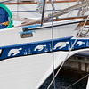 Nice artwork on bow of sailboat.