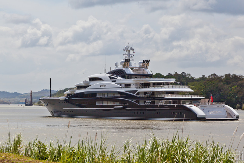 Mega yacht in the Panama canal.