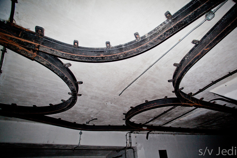 Tracks on ceiling in ammunition bunker.