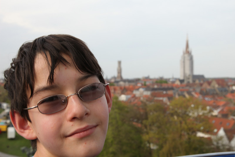 Adrian on a Ferris Wheel in Bruges, an old, somewhat sleepier town, 20 kms from the North Sea.