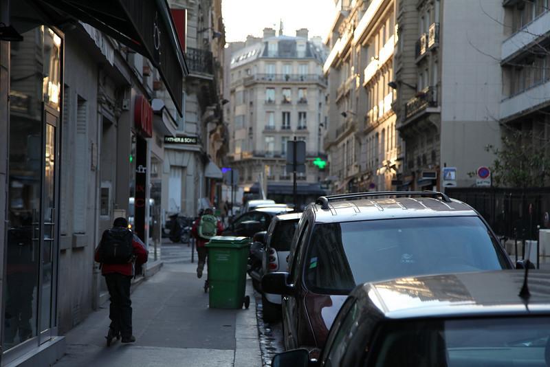 Leaving our appt, around 8:12am, head down rue de Longchamp