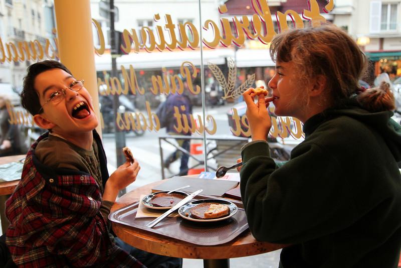 At a cafe at Rue de la Tour and Rue de la Pompe.  We've been back a couple times for their chocolat chaud.