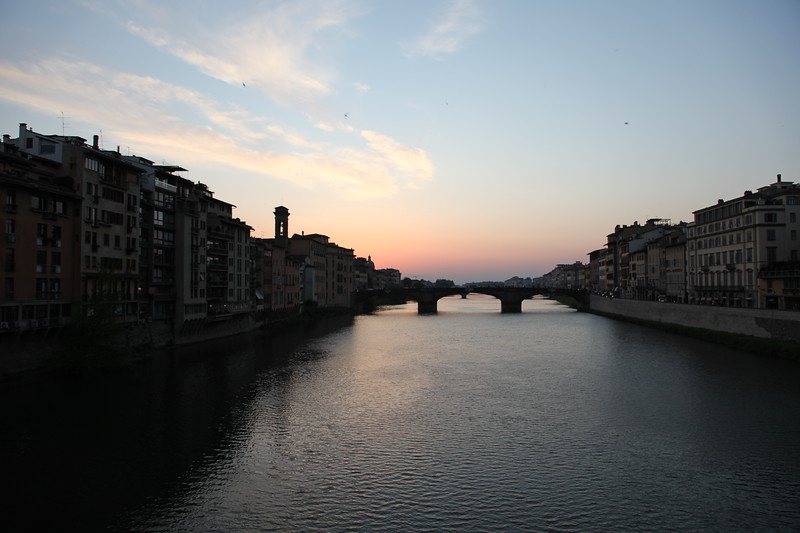 Taken from the Ponte Vecchio, built by the Romans, and the only ancient bridge across the Amo that survived WW II (instead, the retreating Germans blew up all the buildings at both ends, to make passing difficult).