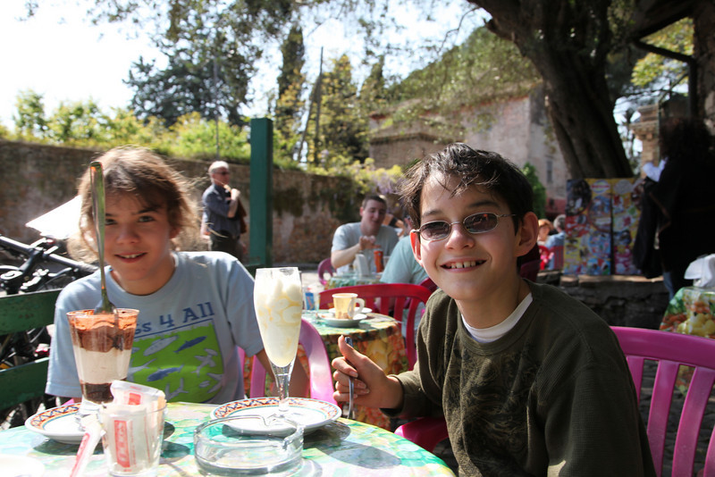 The best milk-shake creations ever, at a cafe at Via Appia Antica  & Via Cecilia Metella