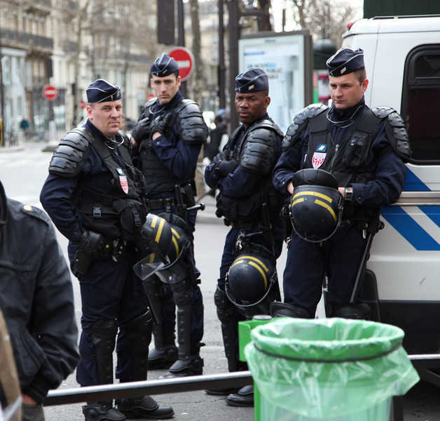 Serious dudes, the CRS (French riot police) -- don't know why they were assembling at Blvd Montmarte