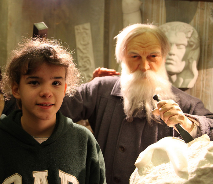 Alana with Rodin at the wax museum, Musée Grévin