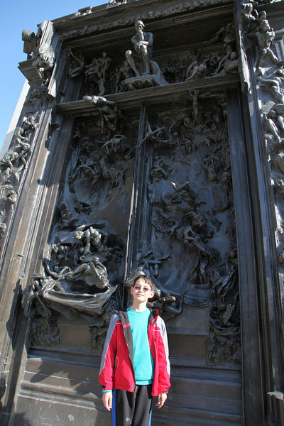 "Now at the Rodin Musee.  Adrian in front of ""La Porte de l'Enfe"""