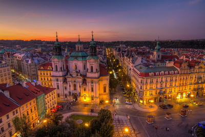 Soft sunset colors  Of course, I took many photos, when I was on the Old town hall tower in Prague. So here is another one.  HDR from three shots, taken with Canon 7D with Sigma 10-20mm lens, from a tripod.