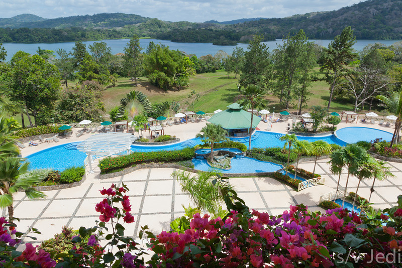 View from Gamboa Rainforest Resort. - The Gamboa Rainforest Resort grounds with swimming pool and the Rio Chagres in the background.