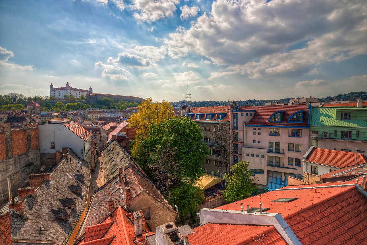 Roofs in Bratislava  I took this photo from the top of the Michael's Gate in Bratislava. Each year there is a weekend when every museum, gallery and other stuff is free in the whole city. And each year one of my stops during this day is the top of this tower. This year it wasn't any different :)  HDR from three shots, taken with Canon 450D with Sigma 10-20mm lens, handheld.