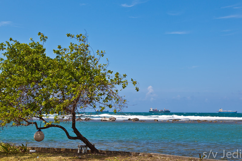 Panamanian reef seascape. - Reef along Galeta Island at the Smithsonian research station with ships coming from the Panama canal in the background.