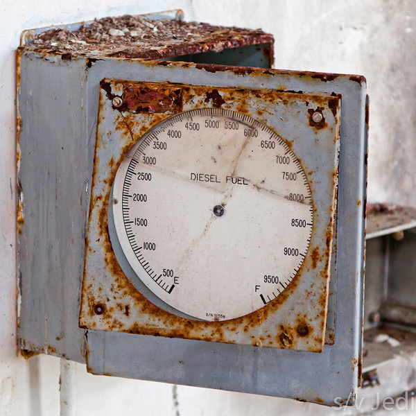 Post cold war artifact. - Abandoned and corroded diesel fuel meter at a former secret US Navy communications facility on Galeta Island in Colon, Panama.