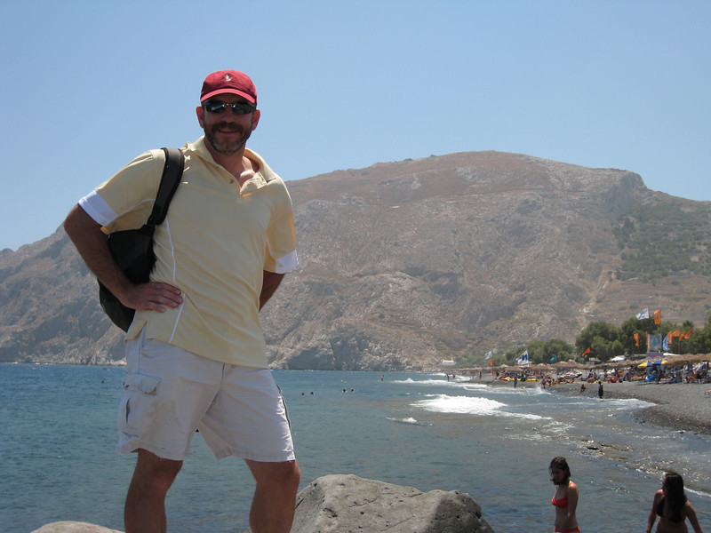 A black beach on the opposite side of the island from Santorini town.   Santorini island was shaped from one of the largest volcanic explosions witnessed by humans, occurring about 5600 years ago.