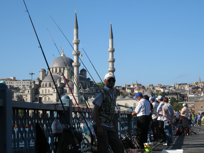 Fishing off the bridge in Istanbul