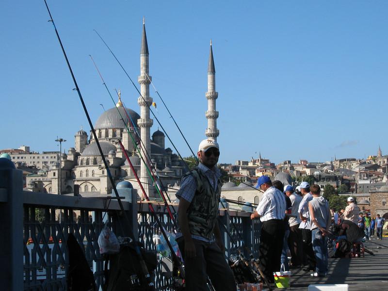 Fishing off the bridge in Istanbul