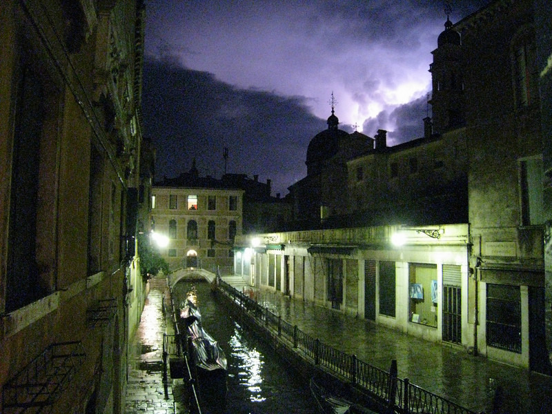 Lightening over the canal outside our hotel room