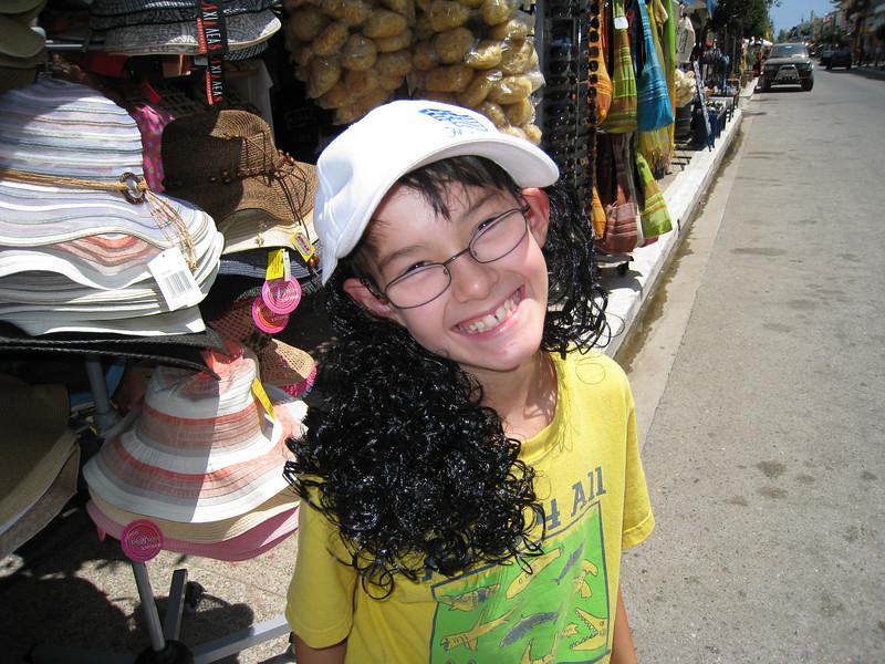 Adrian's experimental hair style.  Katakolon, Greece.