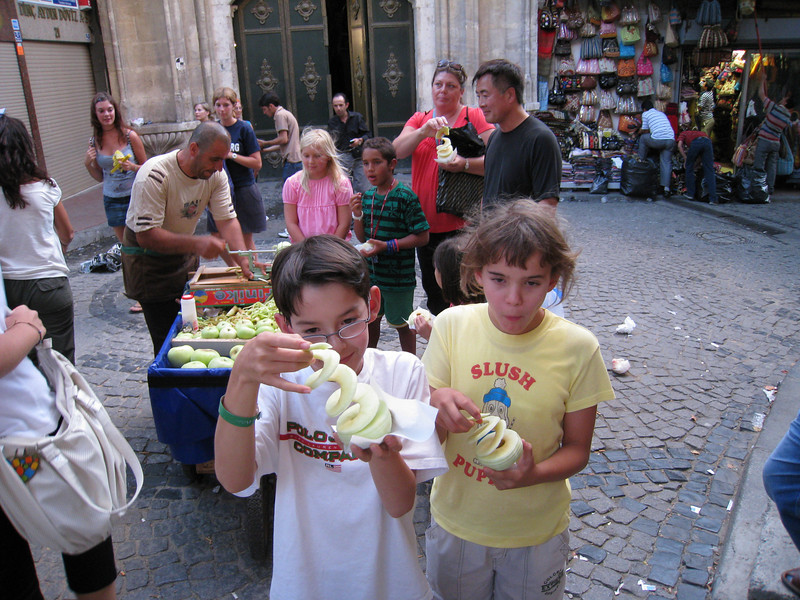 Sliced up (slinky'd) apples,<br /> Outside Istanbul's 500+ year-old Grand Bazaar