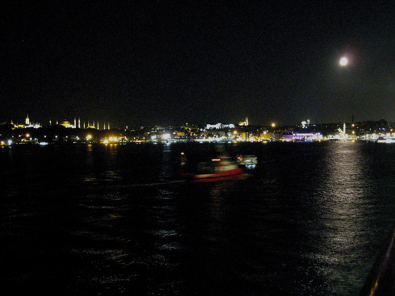 Istanbul harbor by moonlight.