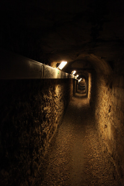 The long tunnel into the Catacombs -- it's John's turn to visit them