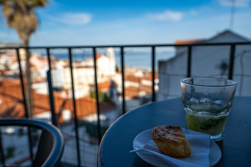 "Enjoying one of Lisbon's favorite desert tarts, ""Pasteis de Nata"""