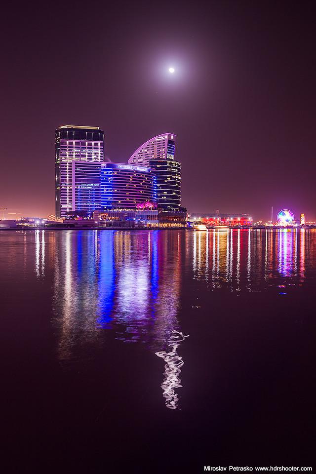 Moon and neon lights
