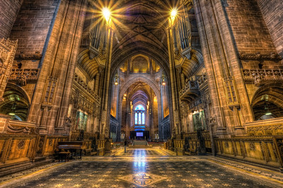 In the Cathedral  Cathedrals are such a great subjects for HDR. With all those details and usually a very weak lighting :) This one ose taken in the Liverpool Cathedral.  HDR from three shots, taken with Canon 450D with Sigma 10-20mm lens from a tripos