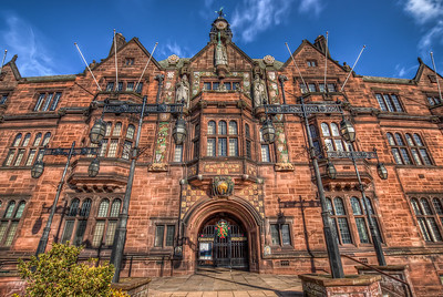 Coventry City Town Hall  UK is great for old buildings, which are again great fro HDR shots. This one if from Coventry.   HDR from three shots, taken with Canon 450D with Sigma 10-20mm lens, handheld.