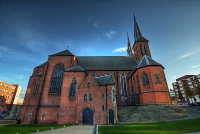 Saint Chad's Cathedral  One of the many photos I took in Birmingham, UK. I was going for as much detail as possible, when I processed this one.  HDR from three shots, taken with Canon 450D with Sigma 10-20mm lens, handheld.