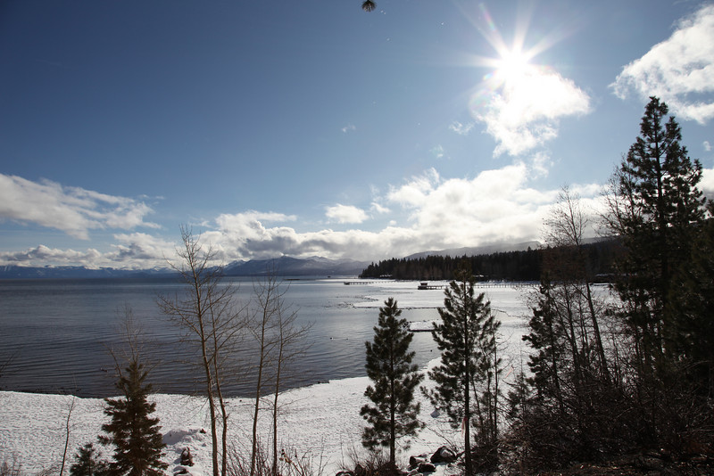 Sunny winter afternoon, Lake Tahoe from Tahoe City