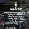 Opening hours for the Bike Culture store in Dean Street, Albury in December 2017. Sunday, gone riding!