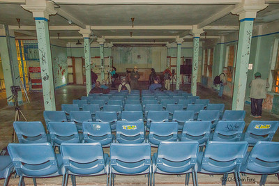 The prison theatre. Once a month, prisoners who were on good behavior were entitled to a movie here in the theatre.