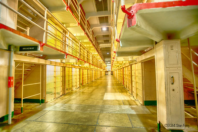 "The main cell house looking down ""Broadway"". These nicknames were given by the inmates and included ""Michigan Avenue"" and ""Times Square"".  Michigan Avenue was so-named allegedly because the first prisoner transferees were from a Michigan penitentiary."