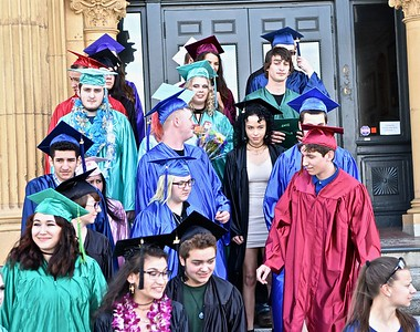 Students wait before their graduation from Alder Grove Charter School. José Quezada—For Times-Standard
