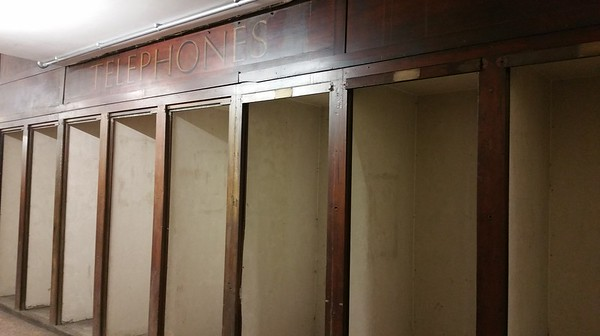 Row of telephone booths..this area was originally part of Aldwych Theatre before being adapted into the Station.