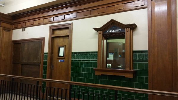 This ticket office has been restored as near as possible to original condition.