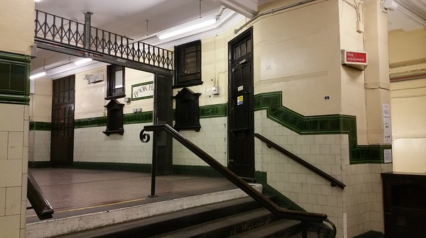 Up the stairs to the other booking office