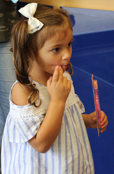 Lynn, Ma. 9-14-17. Brianna Spatafore with her new tooth brush at the back to school open house at Alegre Dental.