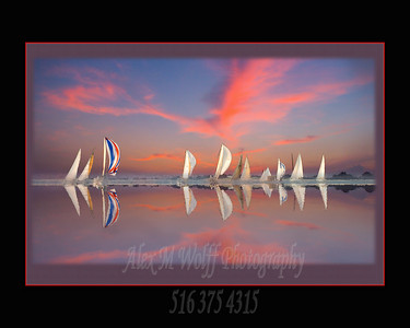 This was taken during  the wednesday night racing series for Sagamore Yacht Club in Oyster Bay, NY.  It is actually 2 photos taken about 20 minutes and 180 degrees apart just before sunset.  I have played with it a bit.